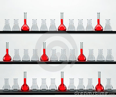 Shelves in the chemistry laboratory with many flas