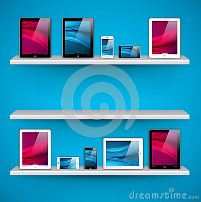 Shelves with devices - vector