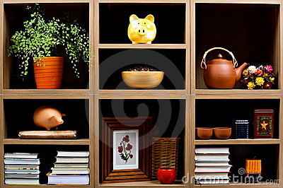 Shelves with different objects