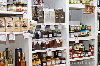 Shelves with home made and imported products Editorial Photo