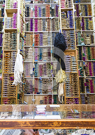 Free Shelves Of Colorful Cotton Reels In Tangier, Morocco Royalty Free Stock Image - 40478396