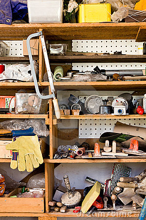 Shelves with various tools, do it
