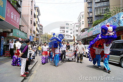 Shenzhen china: the lion dance activities Editorial Stock Image