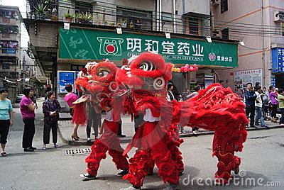 Shenzhen china: the lion dance activities Editorial Stock Photo