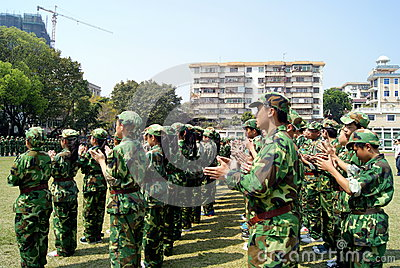 Shenzhen china: middle school students in military training Editorial Photo