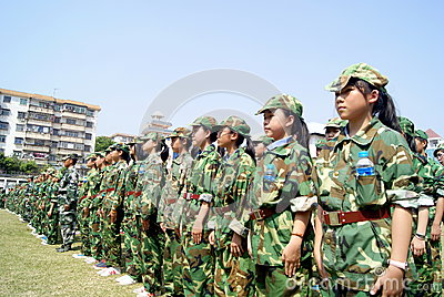 Shenzhen china: middle school students in military training Editorial Photography