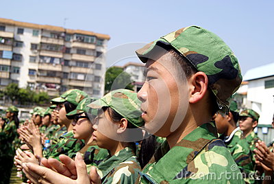 Shenzhen china: middle school students in military training Editorial Stock Photo