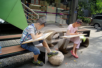 Shenzhen, china: in the painting of the students Editorial Stock Image