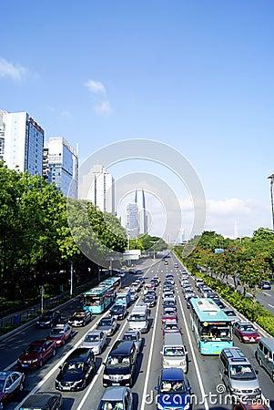 Shenzhen china: traffic jam Editorial Stock Image