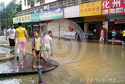 Shenzhen china: underground water pipes burst, water flow into the river Editorial Photo