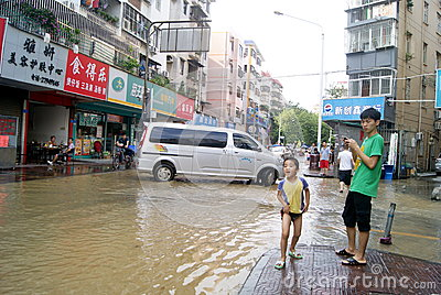 Shenzhen china: underground water pipes burst, water flow into the river Editorial Photography