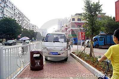 Shenzhen, china: violation of traffic rules and parking Editorial Photography