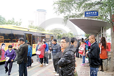 Shenzhen china: waiting for bus people