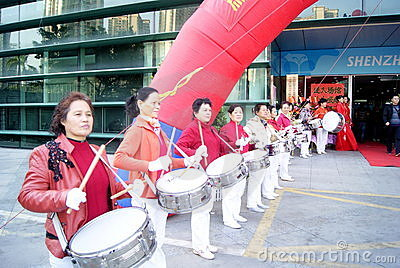 Shenzhen china: the woman drum team Editorial Stock Image