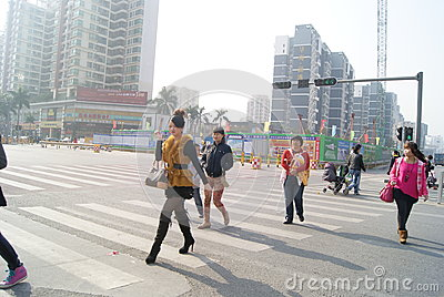 Shenzhen, Chinese: street landscape Editorial Stock Image