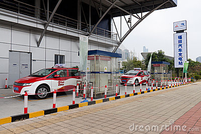 Shenzhen electric car charging stations Editorial Stock Image