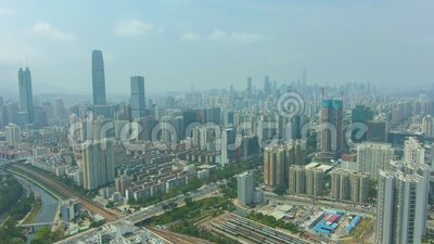 Shenzhen City at Sunny Day. Residential Neighborhood. Guangdong, China. Aerial View. Shenzhen Urban Skyline at Sunny Day. Luohu and Futian District. Blue Sky stock video