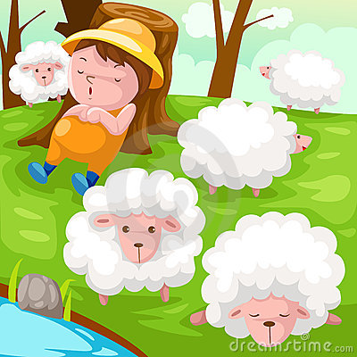 Shepherd with flock of sheep