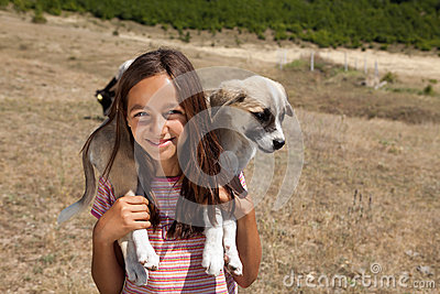 Shepherd girl with dog