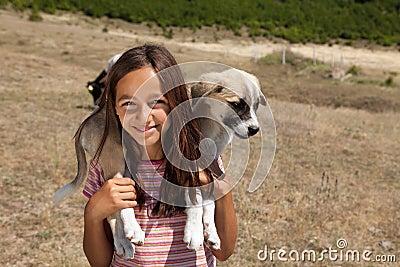 Shepherd girl with dog