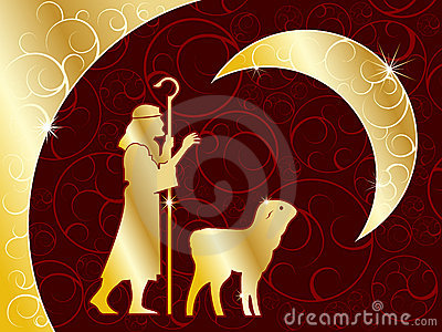 Shepherd and lamb