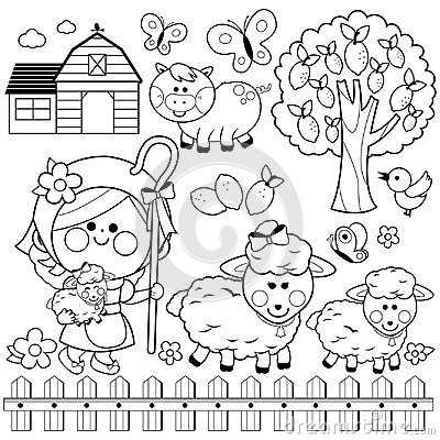 Free Shepherdess Girl And Animals At The Farm. Black And White Coloring Book Page Stock Images - 120021334