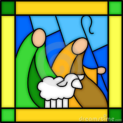 Shepherds in stained glass