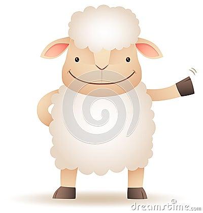 Shepy the sheep smile and waving