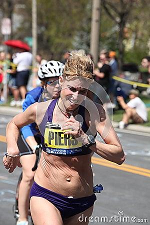 Sheri Piers races up Heartbreak Hill Editorial Photo