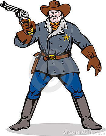 Sheriff aiming a gun