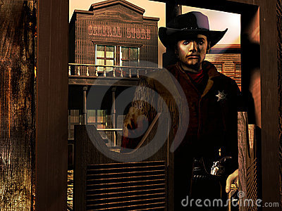 Sheriff entering the saloon