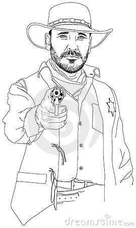 Sheriff with a revolver aimed at the viewer