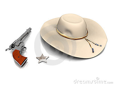 Sheriff s hat, sheriff s star and a gun.