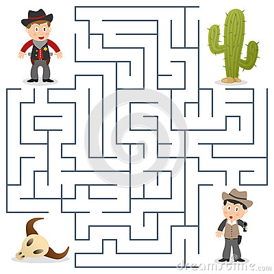 Free Sheriff & Wanted Maze For Kids Stock Photos - 31768563