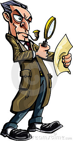 Sherlock Holmes cartoon with magnifying glass
