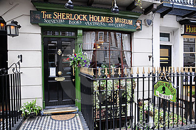 Sherlock Holmes Museum -Billboard shield Editorial Stock Image