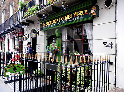 Sherlock Holmes Museum -Billboard shield Editorial Stock Photo