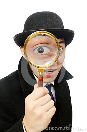 Free Sherlock Holmes With Magnifying Glass Isolated On Stock Images - 56543194