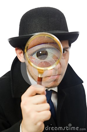 Free Sherlock Holmes With Magnifying Glass Isolated On Stock Images - 56793104