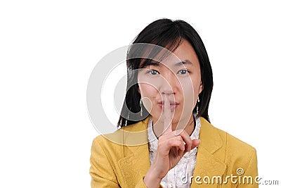 Shhhhh...Asia Woman use Hand Signal Language