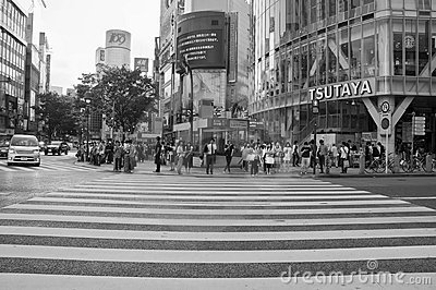 Shibuya crossing,Tokyo.Black & white photography Editorial Photo