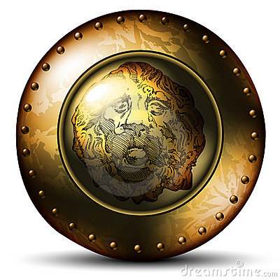 Shield ancient with lion