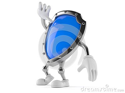 Shield character looking up Stock Photo