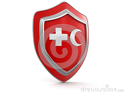 Shield with cross and Crescent (clipping path included)