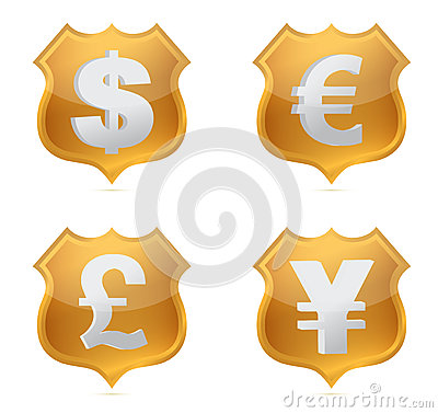 Shield currency signs of protection illustration