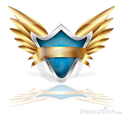Shield and golden wings vector