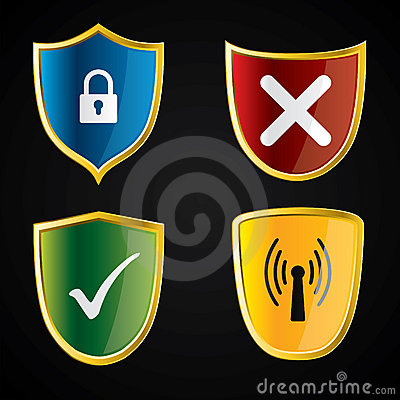 Shield icons for security