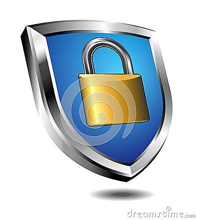 Free Shield Lock Royalty Free Stock Image - 47745356