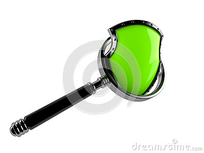 Shield with magnifying glass Stock Photo