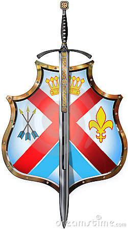 Shield with one sword front